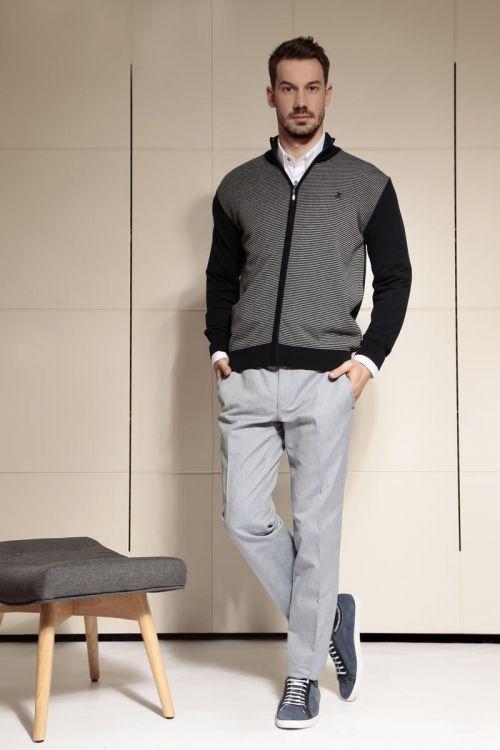 Di Caprio pletena pamučna muška vesta sa zatvaračem - plava sa sivim