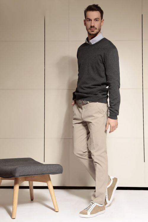 Di Caprio beige (bež) pamučne muške hlače sa strukturom | Slim fit | Varteks