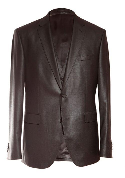 Business fit regular - Crno muško svečano odijelo s prslukom