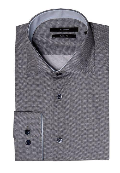 Di Caprio siva muška košulja s mikro dezenom - dugi rukav | Slim fit
