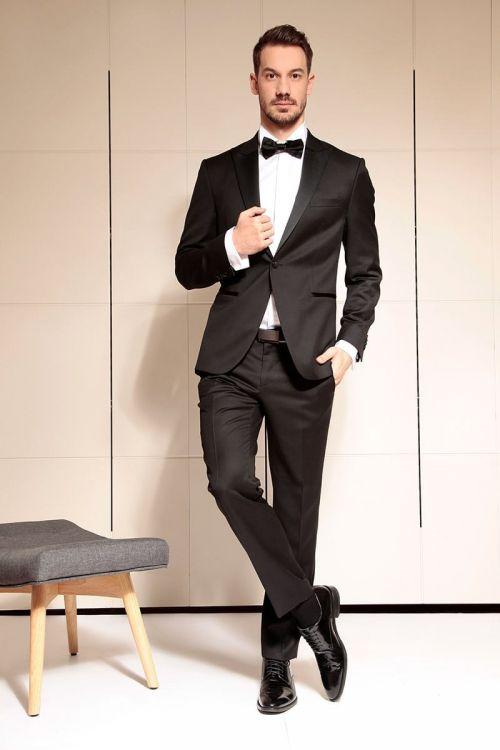 Business fit regular - Crno muško smoking odijelo, Super 100's
