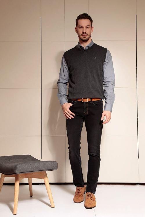 Di Caprio sivi pamučni muški pulover bez rukava | Varteks