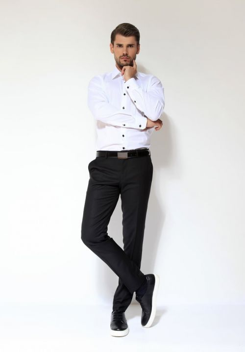 Crne muške hlače, perive u perilici - Fashion fit slim