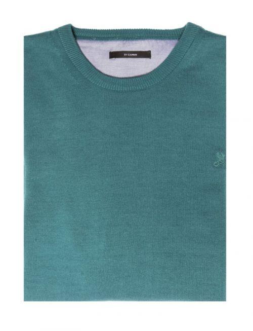 Di Caprio tirkizni pamučni muški pulover s okruglim izrezom | Varteks
