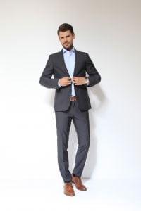 Fashion fit slim - Sivo muško odijelo, Natural stretch