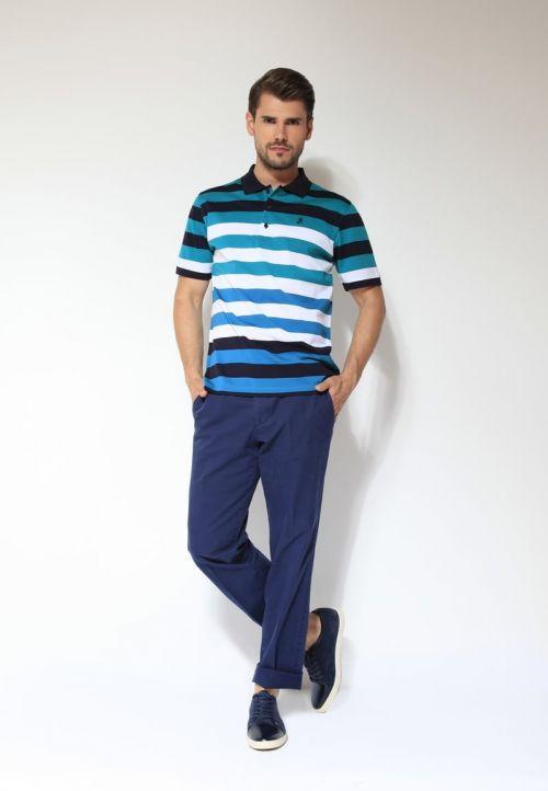 Plave pamučne muške hlače - Comfort fit i Di Caprio muška polo majica s prugama - 100% mercerizirani pamuk