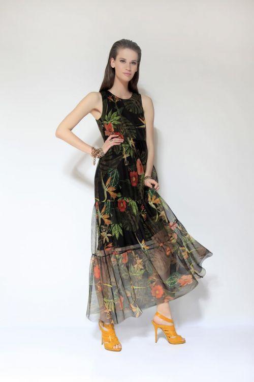 Di Caprio duga crna haljina s cvjetnim uzorkom | Varteks