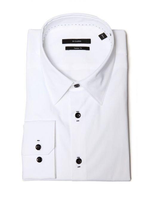 Di Caprio bijela pamučna muška košulja s dugim rukavima | Slim fit