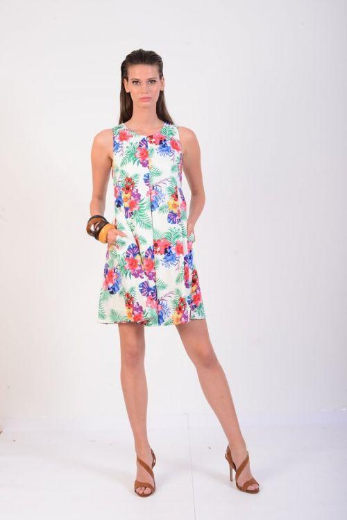 Di Caprio šarena pamučna haljina s elastanom - bijela | Varteks