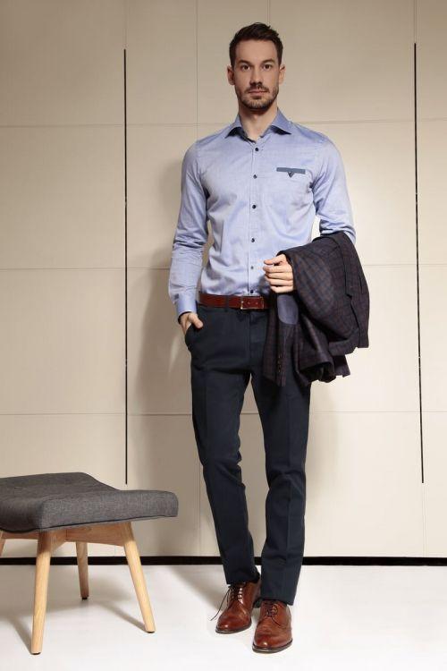 Di Caprio plave muške hlače - elastični pamuk | Slim fit | Varteks