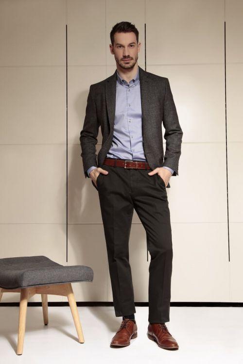 Di Caprio crne muške hlače - elastični pamuk | Regular fit | Varteks