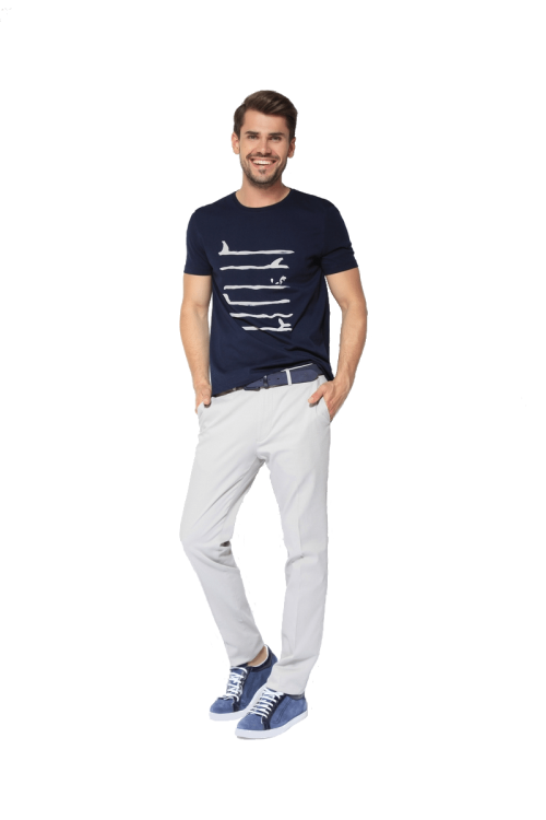 Di Caprio pamučna muška majica s mariner printom | Varteks