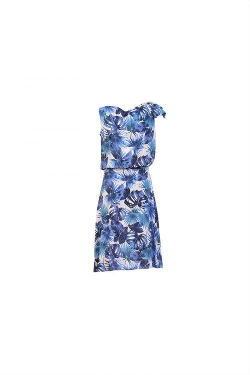 Di Caprio plava viskozna cvjetna haljina s mašnom | Varteks