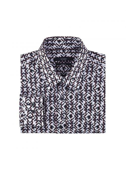 Smeđe-bež muška košulja s printom | Varteks