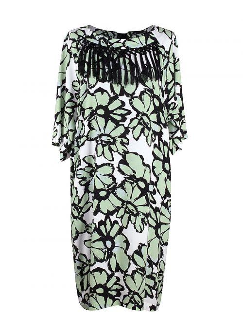 Moderna bijela haljina sa zelenim cvjetovima | Varteks