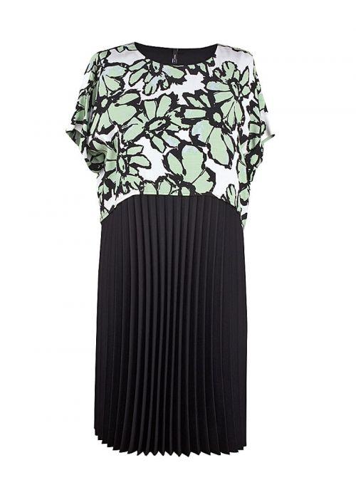 Bijelo-crna haljina s pastelno zelenim cvjetovima | Varteks