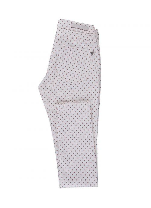 Bijele ženske hlače s bež točkama | Varteks