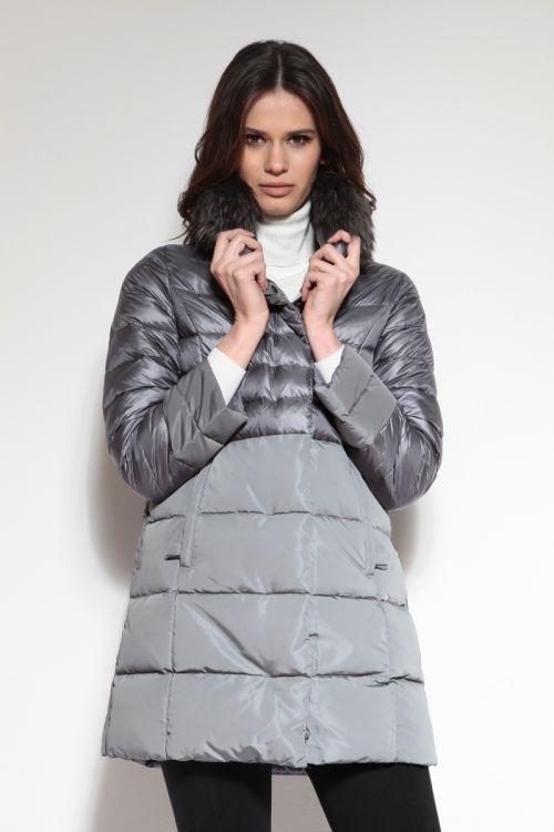 Siva ženska pernata jakna