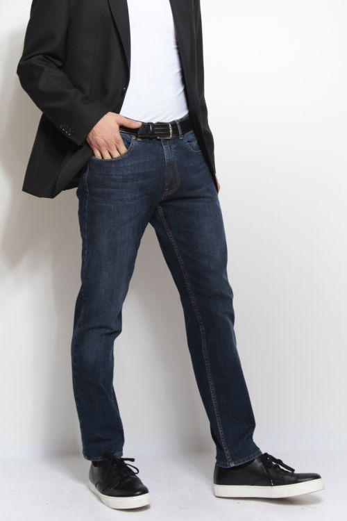 Srednje plave muške traperice užeg kroja - Slim fit