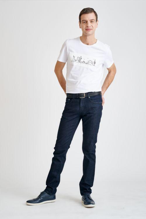 Tamno plave muške traperice užeg kroja - Slim fit