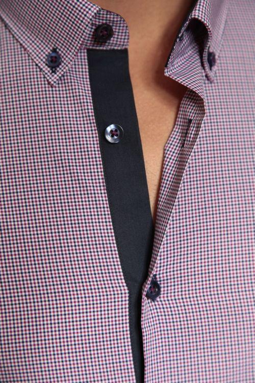 Muška gingham košulja dugih rukava s kariranim uzorkom - Slim fit
