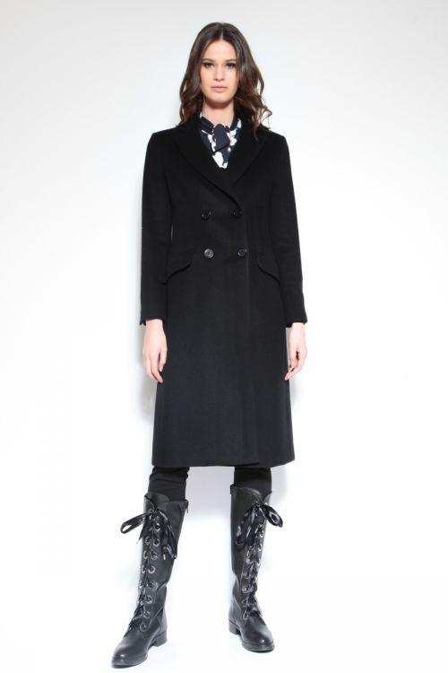 Strukirani ženski kaput s dvostrukim kopčanjem