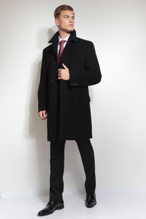 Klasičan crni muški kaput s kašmirom