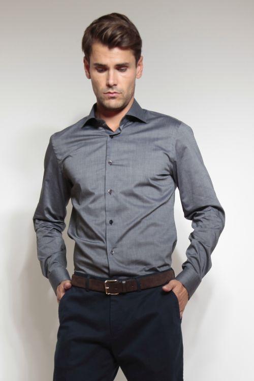 Siva muška košulja dugih rukava mikro karirana - Slim fit