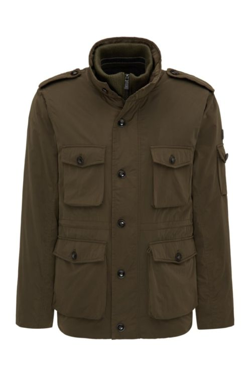 Moderna smeđa muška jakna s epoletama
