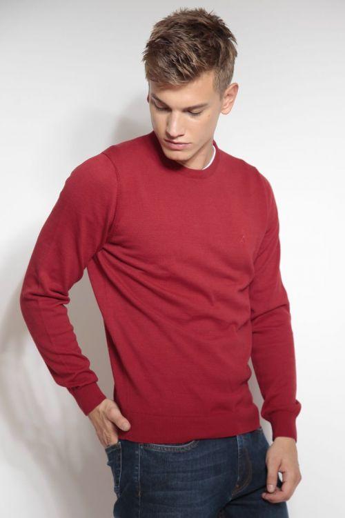 Crveni pamučni muški pulover