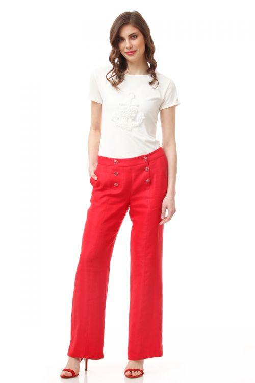 Ženske široke lanene hlače u dvije boje