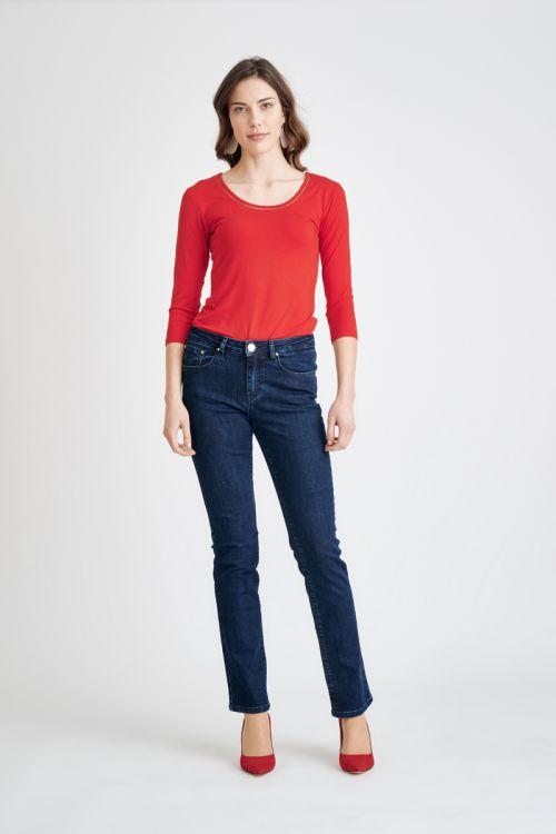Ženske traperice od tamno plavog jeansa - straight leg