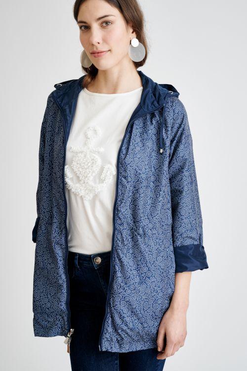 Šuškava dvostrana ženska jakna s kapuljačom
