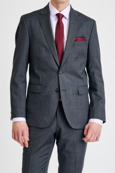 Muško tamno sivo odijelo sa strukturom Super 100's - Regular fit
