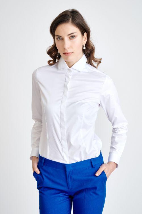 Bijela ženska košulja sa skrivenim kopčanjem