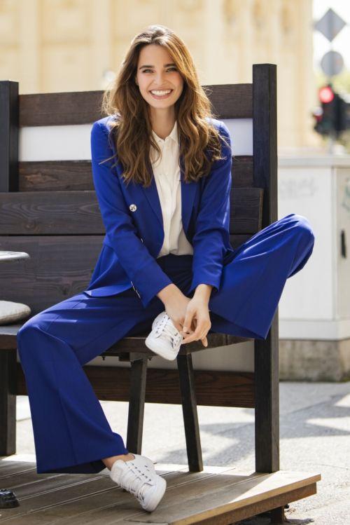 Ženski vuneni elegantni plavi sako