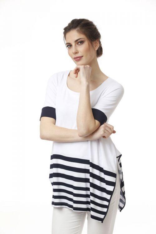 Ženska lepršava majica s prugastim detaljem