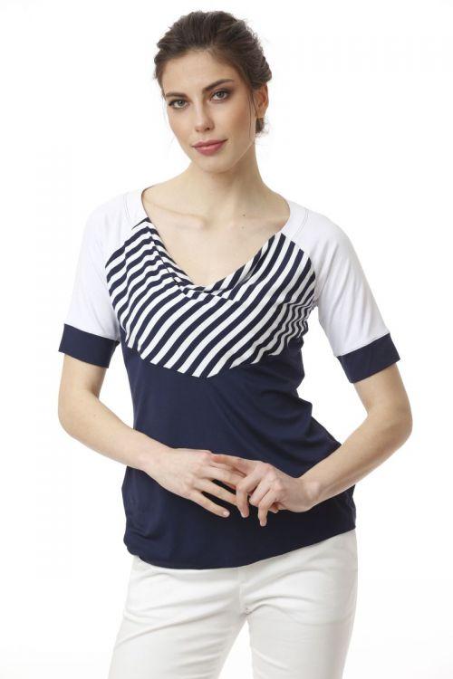 Ženska elegantna majica s prugastim detaljem