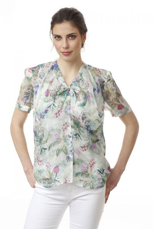 Ženska svilena bluza sa tropskim printom