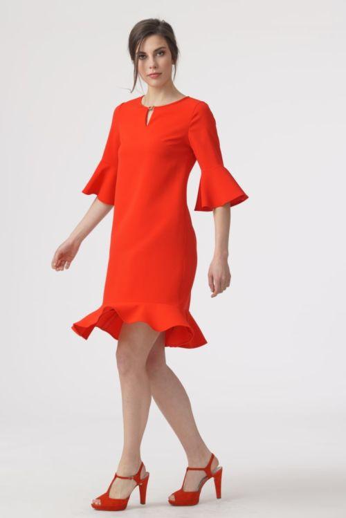 Ženstvena haljina s volanima u dvije boje