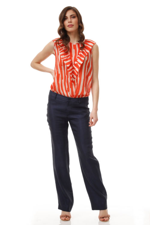 Široke ženske hlače tamno plave boje s udjelom lana