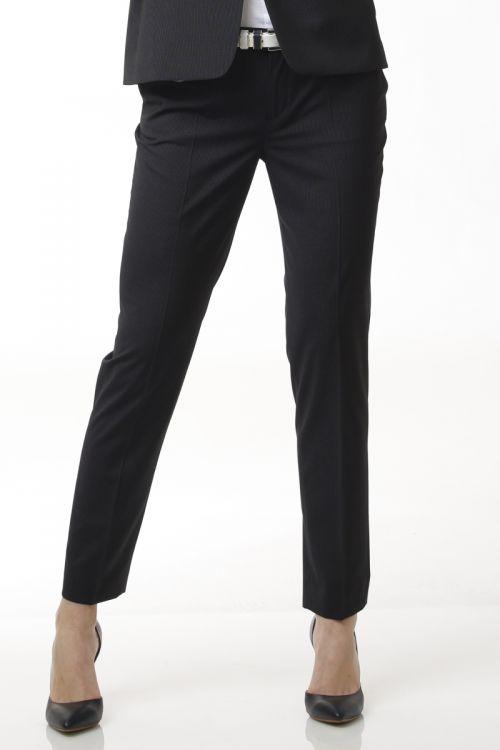 Ženske poslovne hlače 7/8 - tamno sive