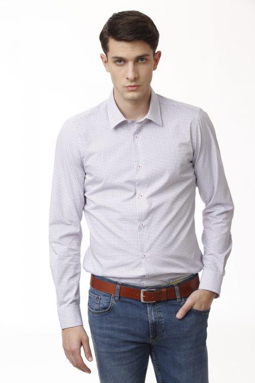 Košulja dugih rukava s decentnim uzorkom - slim fit