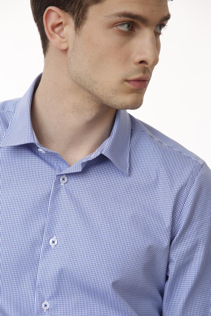 Plava muška košulja decentnog kariranog uzorka - NON IRON