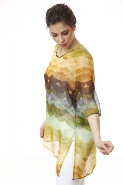 Šarena lagana svilena bluza u tri boje