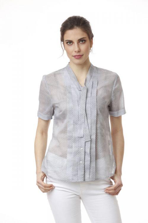 Pamučna siva bluza s decentnim točkastim printom