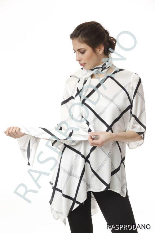 Elegantna crno-bijela bluza sa šalom