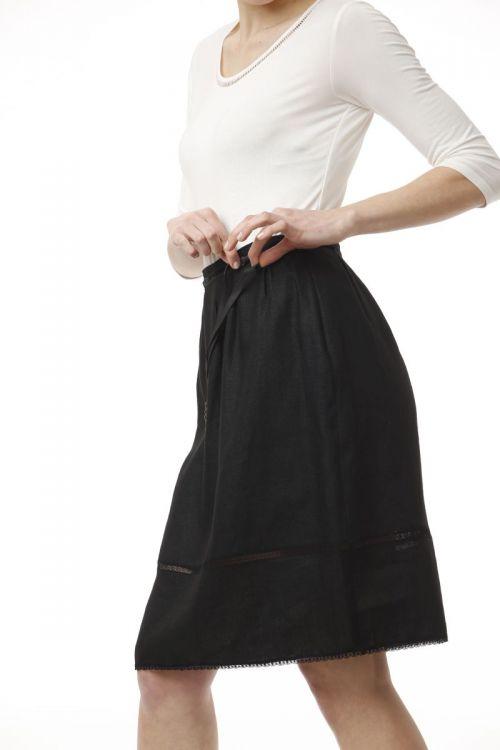 Lanena suknja crne boje