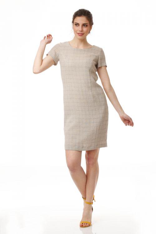 Lanena haljina ravnog kroja bež boje