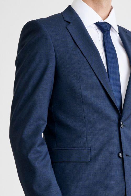 Muško tamno plavo odijelo sa mikro kariranim dezenom - Super 100's -Slim fit